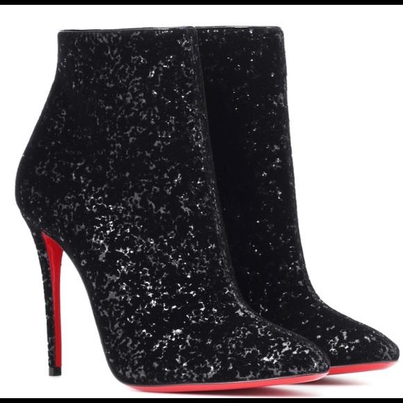 1f8f3b95471 CHRISTIAN LOUBOUTIN ELOISE Black Glitter BOOTY Boutique